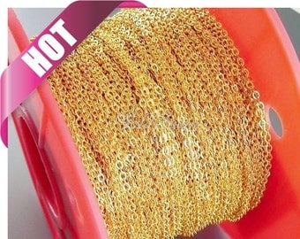 Best selling item / 1 meter 2.6mm x 2mm Gold flat cable chains for jewelry making, jewelry supplies, jewelry chains B011-BG