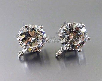 2 large 10mm round faceted CZ cubic zirconia earring findings, silver clear crystal CZ earrings 1022-BR-10