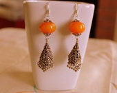 Dangle Earrings, Tribal Earrings, Bohemian Jewelry, Amber Earrings, Ethnic Earrings, Jhumka Earrings, Antique Silver Jhumka Earrings