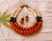 Amber Necklace, Choker Necklace, Double Strand Choker, Tibetan Amber Necklace