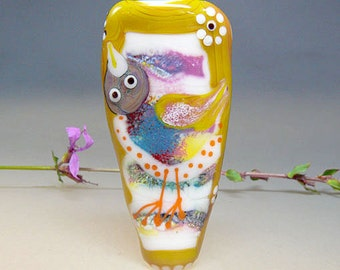 Lampwork Bird Bead - Lampwork, Focal, Glass Jewelry, Artist handmade lampwork glass bead - Glassartist Manuela Wutschke