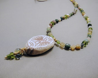 Fair One - Alaska Native hand painted caribou antler and stone bead necklace