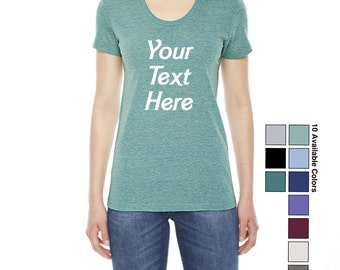 Custom Made TR301 American Apparel Ladies' Triblend Short-Sleeve Track T-Shirt Vinyl or Glitter Print Customized Available in all colors