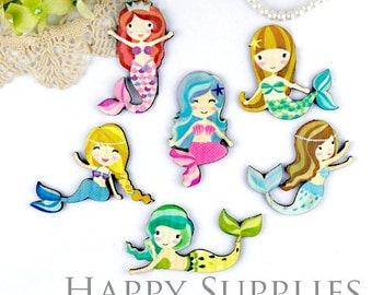 4Pcs Mini Handmade Mermaid Charms / Pendants (CW038)