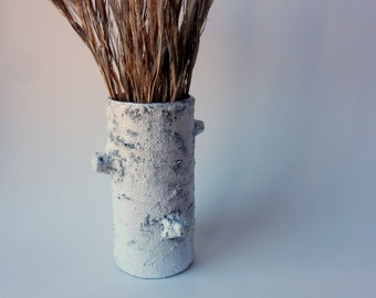 Handmade Concrete and Glass Vase / Birch Tree inspired Home Decor / Nature Art /  Tree Stump vase / handcrafted vase