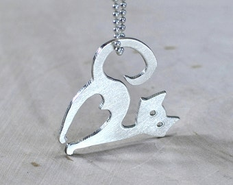 Sterling silver cat necklace for the feline fanatic - NL372