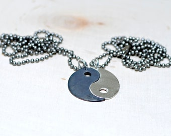 Yin Yang Sterling Silver Couples Necklace - Solid 925 NL741