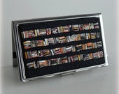 "Business Card Case - Metal/Polymer Clay - Black texture background - ""Flags"" motif"