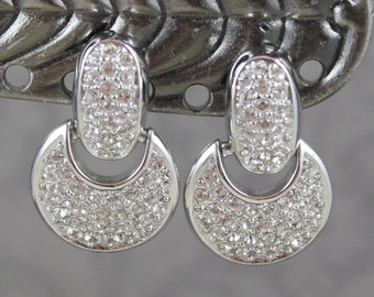 Vintage Pave Rhinestone Silver Christian Dior Drop Clip On Earrings