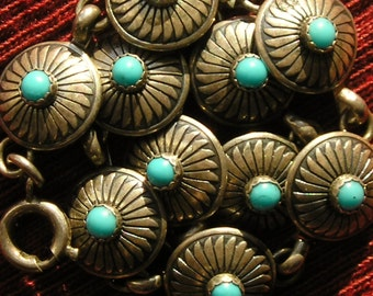 Southwest Sterling Silver Turquoise Concho Link Bracelet