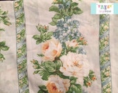 Twin Vintage Fitted Sheet with Large Cream Roses and Stripes