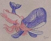 Original Art - HUGS! Whale and Squid