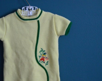 Vintage Yellow Knit Baby Bodysuit with Embroidered Jack and the Beanstalk - Size 6-9 Months