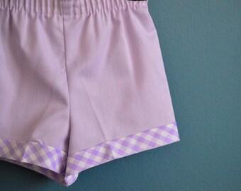 Vintage Pale Purple Shorts with Gingham Trim - Size 2T 3T