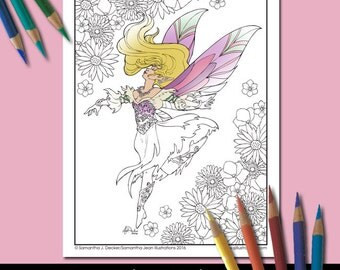 Fairy Coloring Page, Adult Coloring Pages, Fantasy, Printable Coloring Pages, Coloring Pages to Print, Fantasy Art by Samantha Decker