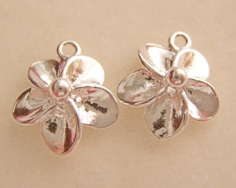Shiny Bright Sterling Silver Plumeria Flower - Charms