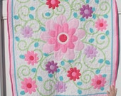 Pink and Teal Polka Dot Floral Panel Baby Quilt/Lap Quilt