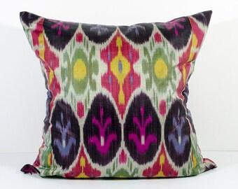 15x15 multicolored ikat pillow cover, green, pink, red, yellow, ikats, ikat cushion, pillow, pillow case, decorative pillow, throw pillow
