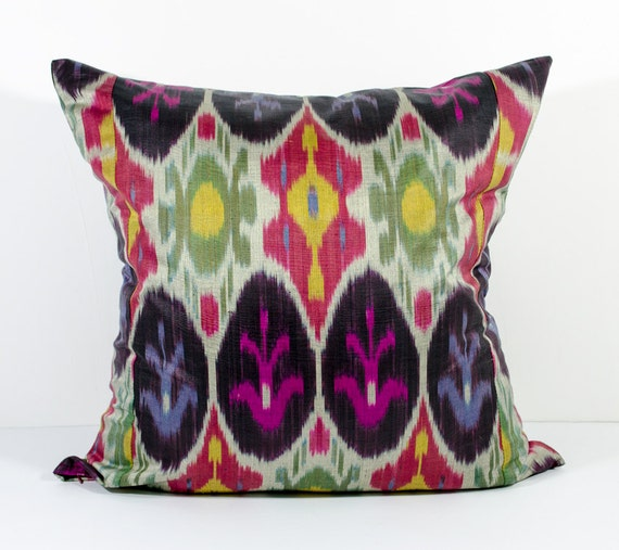 15x15 Throw Pillow Cover : 15x15 multicolored ikat pillow cover green pink red