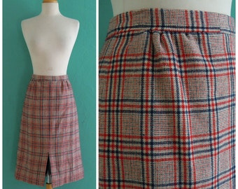60's wool pliad skirt // red white and blue plaid high waist skirt ~ medium large