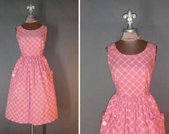 50s dress 1950s vintage PINK PLAID BUTTON star plaid print cotton full skirt day dress