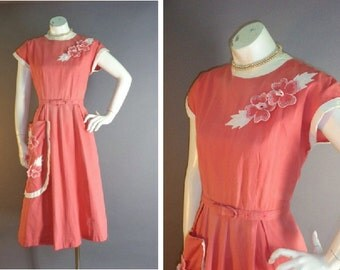 50s dress 1950s vintage CORAL 3-D FLOWERS cotton pique embroidery full skirt dress
