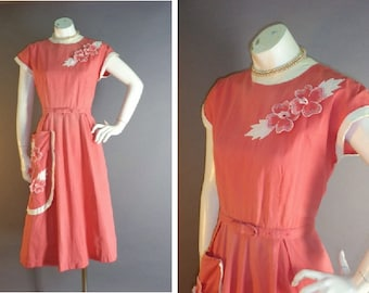 50s 40s dress 1950s 1940s vintage CORAL RED 3-D flowers cotton pique embroidery full skirt dress