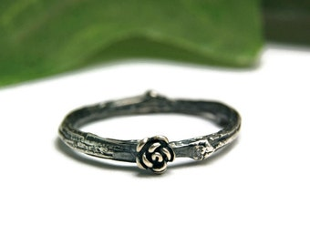 Sterling Silver Twig Wedding Band, Silver Branch Ring, Silver Band Ring, Bridal Jewelry
