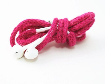 Tangle Free Knit Apple Earpods in Pink Sparkle