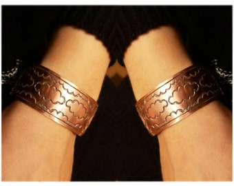 Clouds on Copper Boho Handstamped Cuff Bracelet