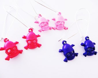 Earrings Skull and Crossbones Acrylic Hot Pink Light Pink Purple Your Choice of Color