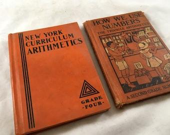 Vintage Math Books. 1930s Math School Books. Antique Math Book. Math Lesson Book. School Book. Old Primer. Grade School Math. Orange Books