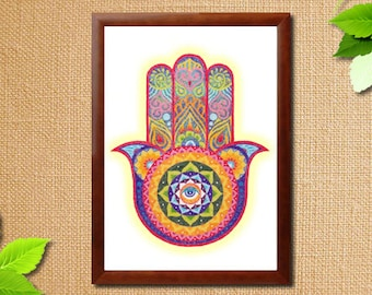 Instant Download Printable Art. Sand Art Hamsa Hand Mandala.