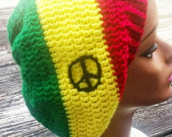 Rasta peace slouch beanie hat
