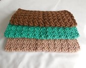Earthy Crochet Cotton Wash Cloths / Set of 3 / Cotton Dish Cloths / Price Reduced