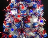 """Patriotic 4th of July Mini Tabletop Christmas Tree - 23"""" - Fully Decorated - Tree Skirt & Matching Presents - Reserved for Debbie deGraauw"""
