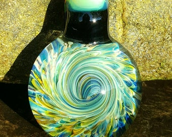 Glass pendant...swirly frit..by Erin Cartee