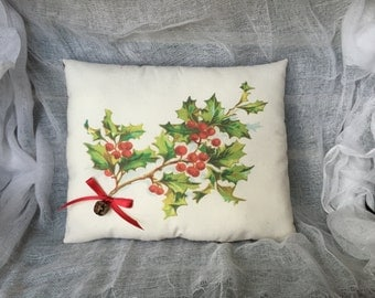Christmas Pillow | Holly and berries | Christmas decor | Christmas Gift | Winter Greens | red and green | holly print