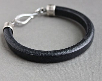 Men's Bracelet Thick Black Leather, Sterling Silver Clasp