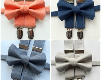 Little and Big Guy Bow tie and Suspender SET - Spring Solids -(Newborn-Adult)- Easter Spring - Gray Aqua Mint Teal Mustard Yellow Navy Coral