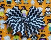 "Custom for Margrit - Halloween Magic Parade Dog Collar Scrunchie - big zigzag stripe bow - Size S: 12"" to 14"" neck"