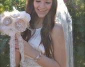 "Waltz Length Wedding Veil 50"" knee length veil 108, 72, 54 inch wide tea length veil ivory, champagne, blush pink bridal illusion tulle veil"
