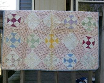 "Vintage Hand Stitched Baby Blanket Quilt - 26"" x 32"""