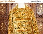 ON SALE 1960s Oleg Cassini Chenille Carpet Bag Tapestry Coat