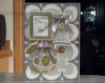 """Handmade Peace Be with You Christmas Card - 5"""" x 7"""" - Anna Griffin Design Silver and Gold Ornament, Bell & Holly Leaves"""