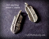 TWO Bali Sterling Silver Feather Charms, 6mm x 16mm (oxidized finish), artisan-made jewelry supplies, nature inspired, birds