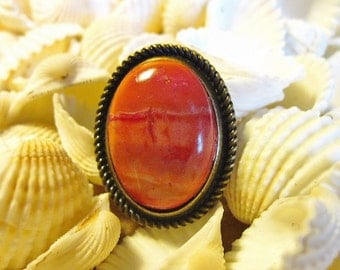 Dramatic Oval Ring Antique Bronze Faux Jasper Stone Adjustable Sizing Southwestern Contemporary Style Handmade Gift FREE Velvet Gift Pouch