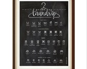 Laundry Symbols Guide, Calligraphy Art, Housewarming Gift, Chalkboard Print, Housewife Gift, Art Print, Home Decor, Homemaker, Laundry Room
