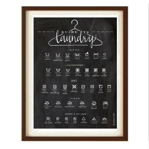 Laundry Symbols Art Laundry Symbols Guide Calligraphy Art Housewarming Gift