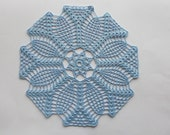 Crochet Doily Light Blue Cotton Lace Table Topper Heirloom Quality
